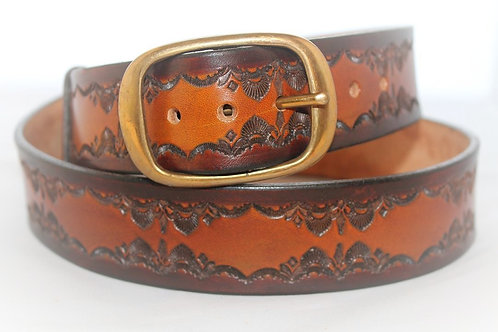 "1½"" Brown and Tan Belt Hand Tooled,  XT15-018"