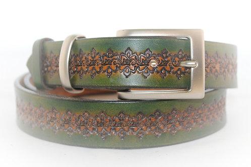 Green Belt Hand Tooled, 30mm wide, XT30-011
