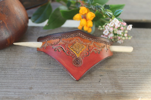 Hair Slide / Leather Barrette / Red