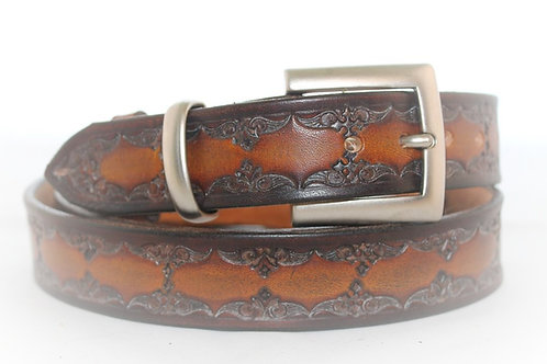 Brown Belt Hand Tooled, 30mm wide, XT30-014