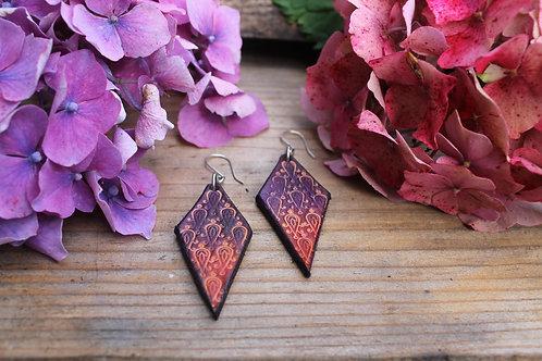 PInk Purple Earrings | Diamond shaped Earrings
