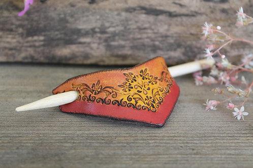 Orange red and Yellow Hairslide/ Leather Barrette /Handmade