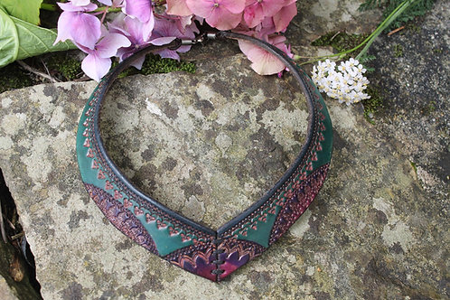 Leather Turquoise Torc - Unique Tribal Look