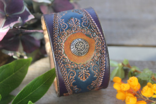 Blue and Purple Wristband with decorative stud