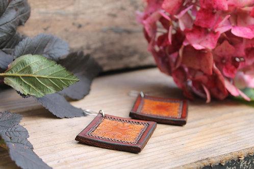 Large square Floral Earrings | Handmade Large Burnt diamond Leather Earring
