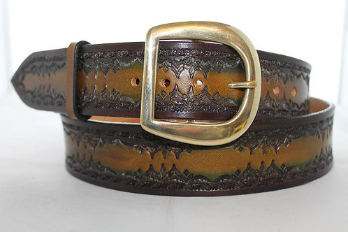 "Green belt, handtooled leather belt, 1¾"" wide, Made in Ireland XT17-019"