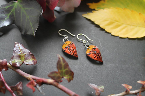 Floral Bright Red Earrings | Small drop shaped Earrings