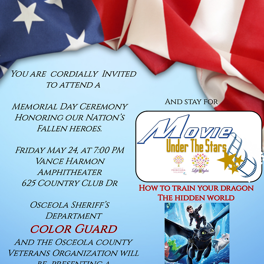Memorial Remembrance Ceremony and Movie Under the Stars