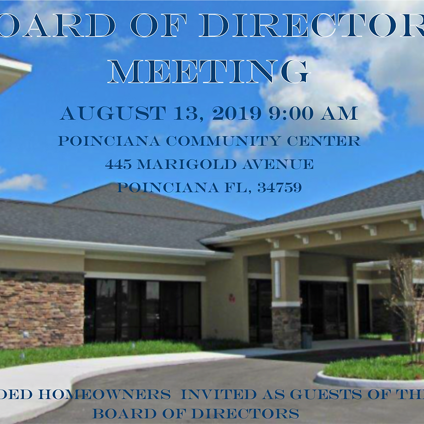 August Board of Directors Meeting