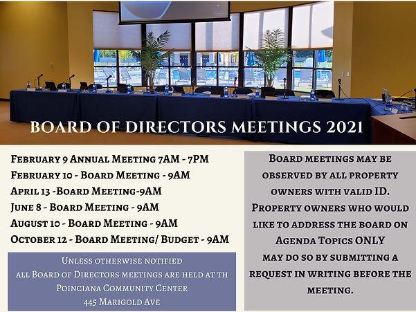 Copy of board of directors meetings 2021