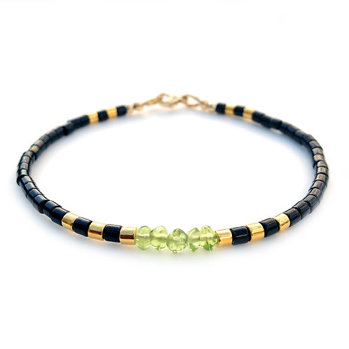 August Peridot Birthstone Bracelet, Handmade Genuine Gemstone Beads