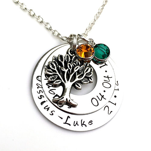Personalised Family Tree Necklace with Names and Birthdates