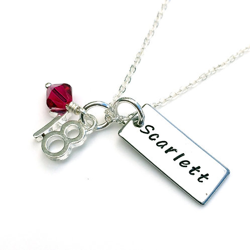 Personalised 18th Birthday Necklace for Girls with Birthstone
