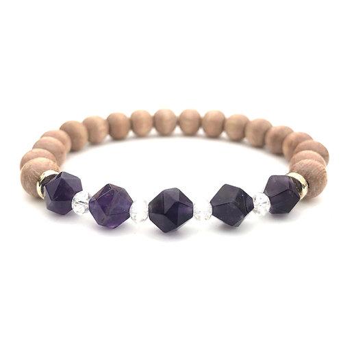 February Birthstone Amethyst Natural Stone Bracelet