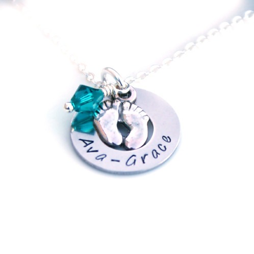 Personalised baby gift necklace present for a new mum negle Gallery