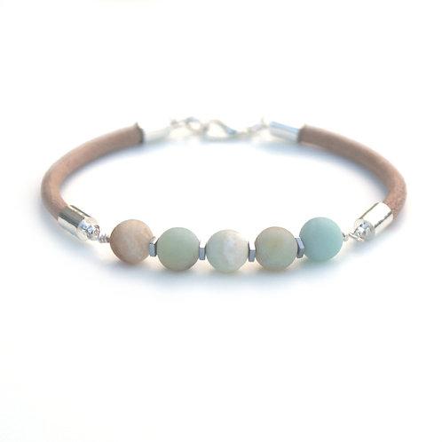 Handmade Leather and Amazonite Gemstone Bracelet