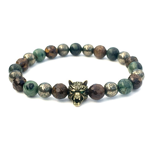 Kambaba jasper, bronzite and pyrite wold beaded bracelet