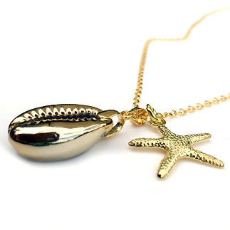Gld plated Cowrie and Starfish Necklace.jpg