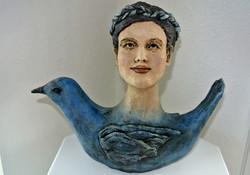 Blue Bird Life  Paper Clay Sculpture