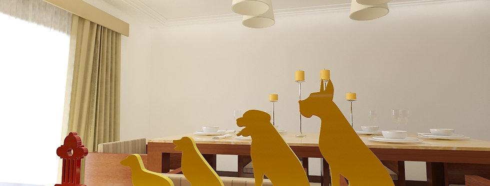 Decoração Fila de Cães - 121x400xcm