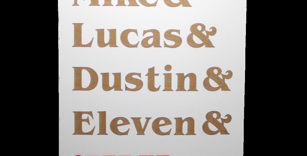 Quadro Stranger Things Nomes  40x30cm