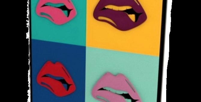 Quadro Bocas Pop Art - 50x50cm