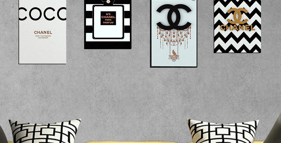 Kit de 4 Quadros Chanel - 40cm x 30cm