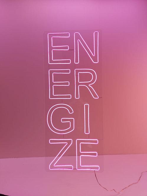 Placa Luminária Neon Led - ENERGIZE 130X40cm