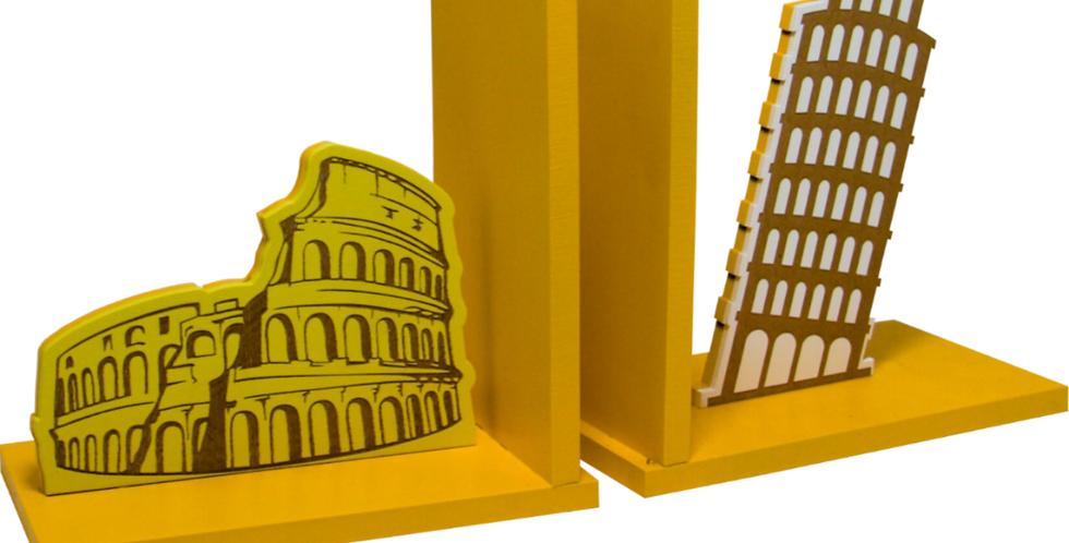 Aparador de Livro Coliseu e Torre de Pisa 15x30cm