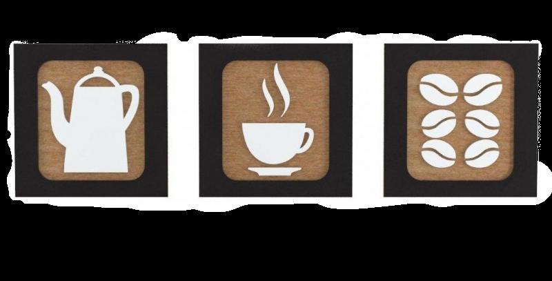 Kit 3 Quadros Kitchen Coffee - 25x25cm