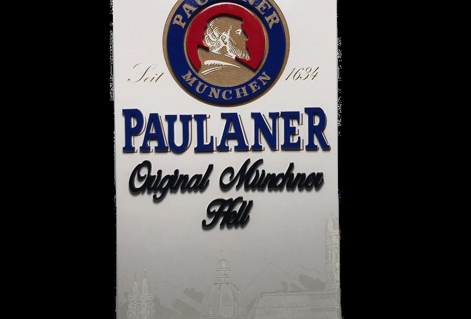 Quadro de Bar Laqueado - Cerveja Paulaner Lata  - 40x40cm