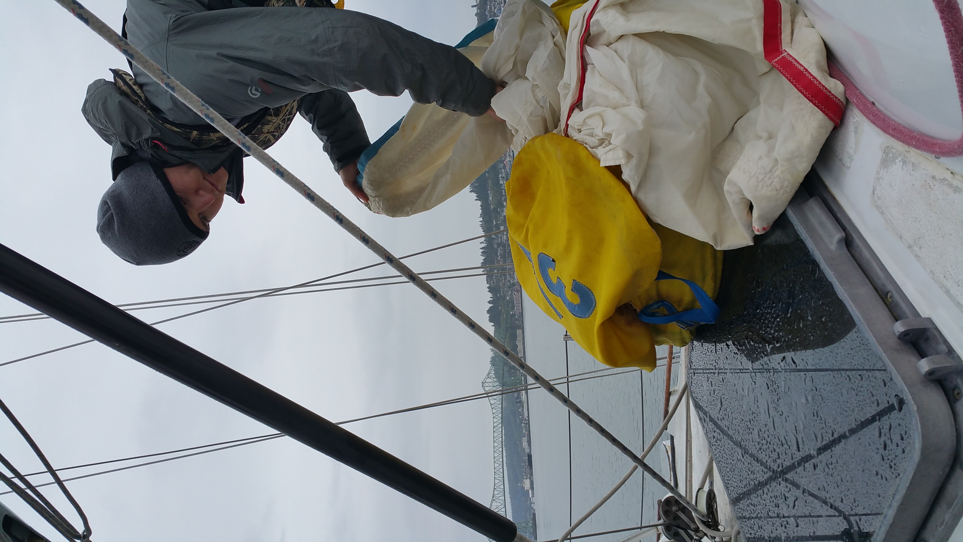 Ben prepping the Spinnaker
