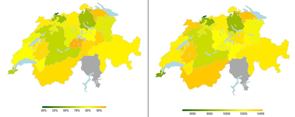 Maps of the Swiss Cantons showing differences between consumer's energy-related behaviors.