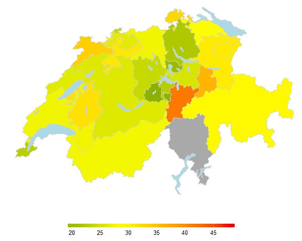 A map of the Swiss Cantons produced with Shiny. The interactiv version of the maps is presen elesewhere.
