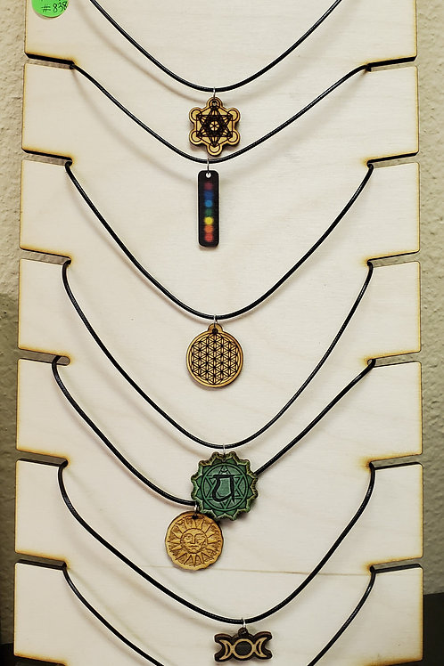 Wooden Necklace w/Sacred Geometry