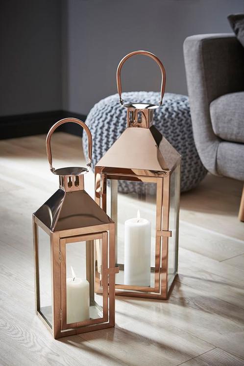 Copper rose gold candle lantern hire crafty gems