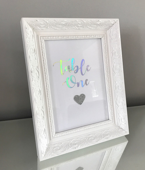 White Wedding framed table numbers | Crafty Gems - Personalised ...