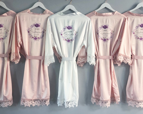 5af0eca061 Personalised Wedding satin lace detail Bridal party robes Printed with the  floral design of your choice and personalised with role name and wedding  date if ...