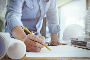 Architect or engineer working in office, Construction concept. Engineering tools.jpg