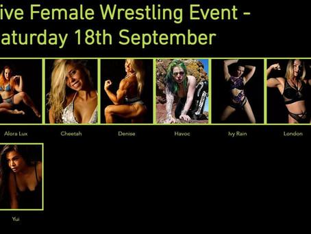 Line-up for September 18th Female Wrestling Event announced