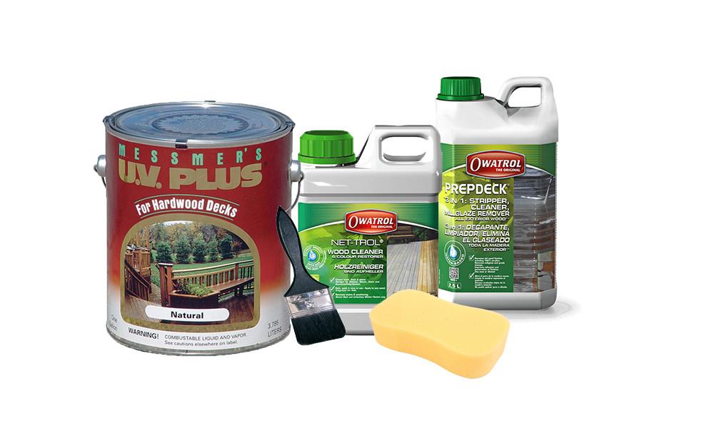 timber maintenance package; messmers uv plus oil; cladding; decking; owatrol prepdeck cleaner and stripper; owatrol net-trol neautraliser