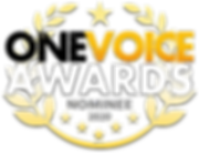 A Badge showng Dave Baird is a One Voice Award nominee 202