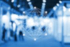Blockchain network sign on blur exhibiti