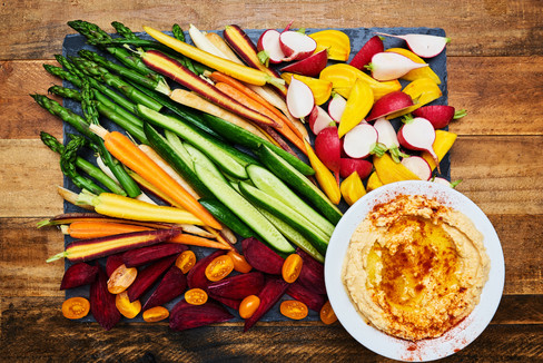 Hummus with Farmer's Market Vegetables
