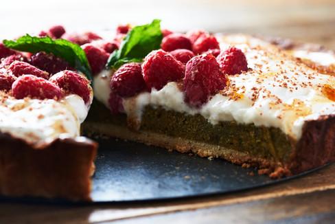 Pistachio Frangipane & Raspberry Tart
