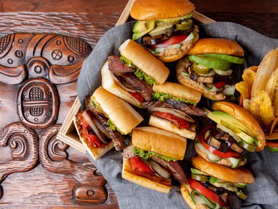 Honduran Style Carne Asada & Vegan Sabich Sandwiches