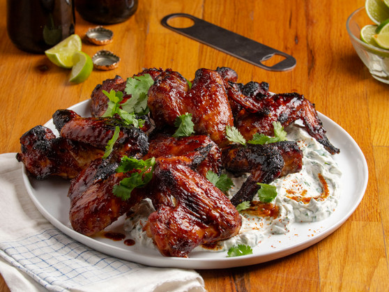 Harissa & Date Lacquered Wings with Herb Yogurt Sauce