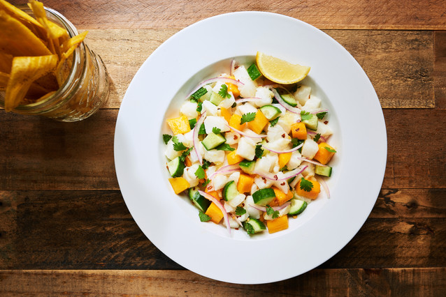 Chilean Sea Bass, Cucumber & Mango Ceviche with Plantain Chips
