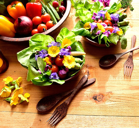 Vegetables with salad dish with spring e