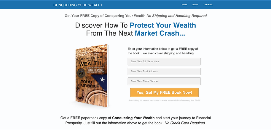 Conquering Your Wealth Landing Page by Lisa Caskey